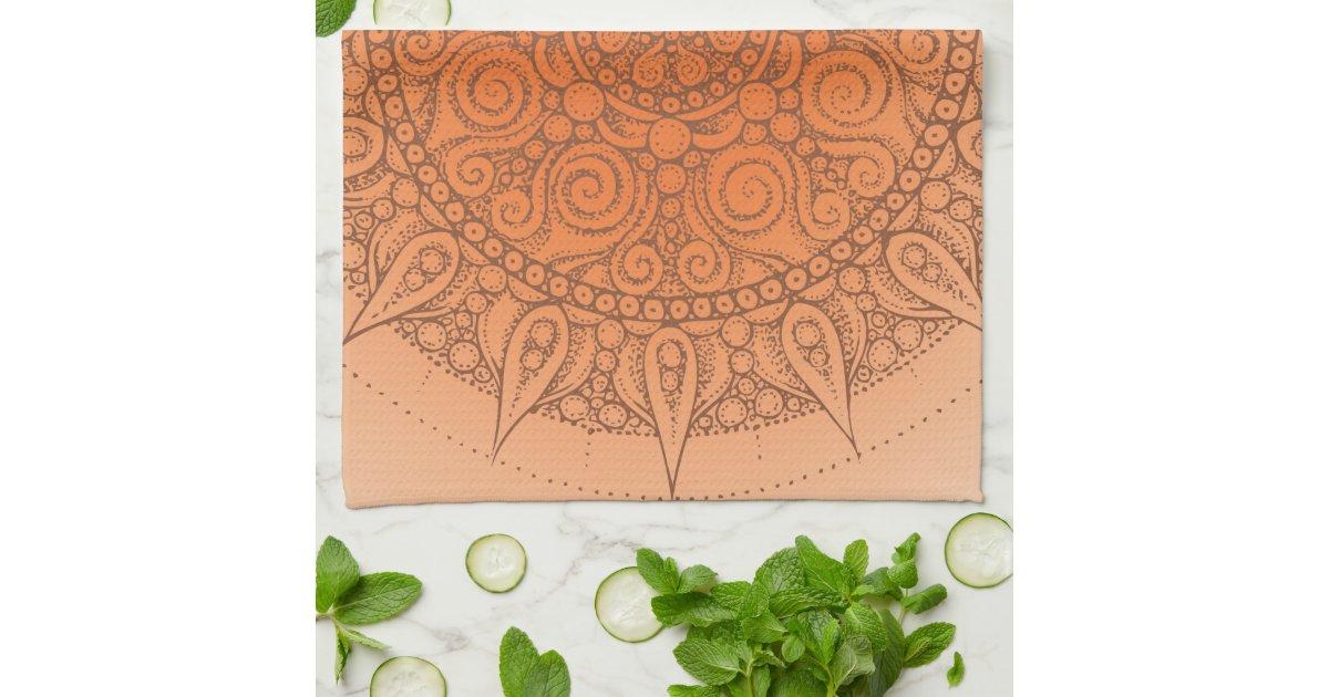 nice oriental orange design kitchen towels zazzle
