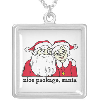 Nice Package Santa Claus Square Pendant Necklace