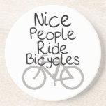 Nice People Ride Bicycles Drink Coaster