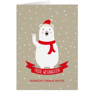 """Nice polar bear """"glad Christmas """" Card"""