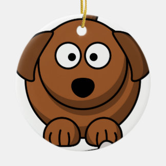 Nice puppy with its bone ceramic ornament