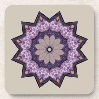 Nice Purple Flower Star Beverage Coaster