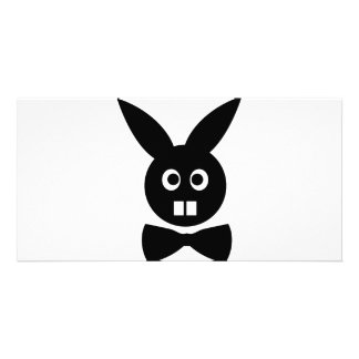 nice rabbit with bow tie icon photo card