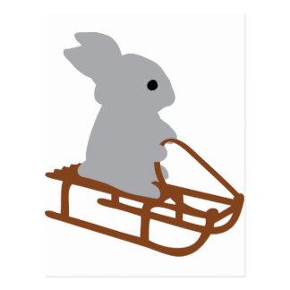 nice rabbit with toboggan icon postcard