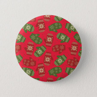 Nice red green Christmas Gloves on red Button