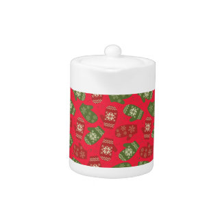 Nice red green Christmas Gloves on red Teapot
