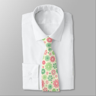 Nice Red Green snowflakes on white Neck Tie
