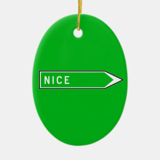 Nice, Road Sign, France Double-Sided Oval Ceramic Christmas Ornament