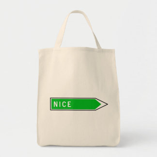 Nice, Road Sign, France Tote Bag