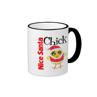 Nice Santa Chick Ringer Coffee Mug