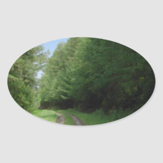 Nice scenic view of a pathway and trees. oval sticker
