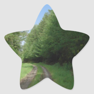Nice scenic view of a pathway and trees. star sticker