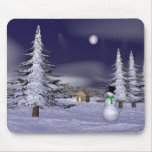 Nice snowman in the night mouse pad