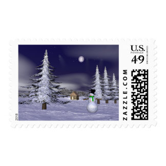 Nice snowman in the night postage