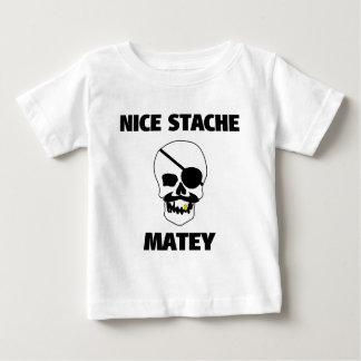 Nice Stache Matey Pirate Skull Baby T-Shirt