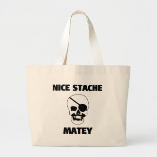 Nice Stache Matey Pirate Skull Canvas Bags