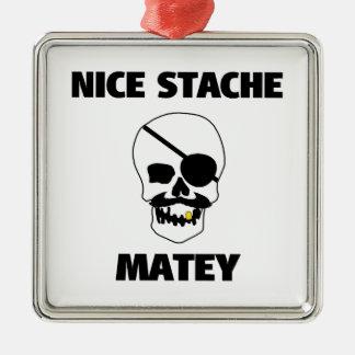 Nice Stache Matey Pirate Skull Metal Ornament