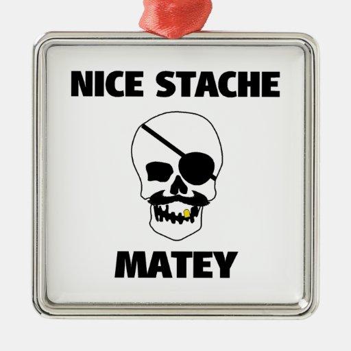Nice Stache Matey Pirate Skull Ornament