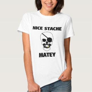 Nice Stache Matey Pirate Skull Shirt