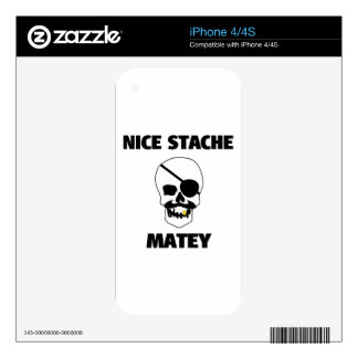 Nice Stache Matey Pirate Skull iPhone 4S Decals