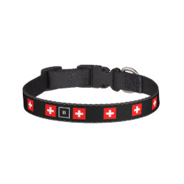 Nice Switzerland flag black monogram Pet Collar