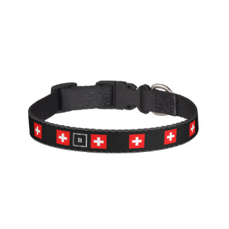 Nice Switzerland flag black monogram Pet Collar
