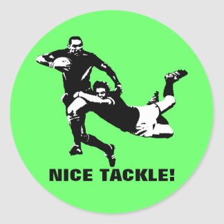 Nice tackle,Rugby Classic Round Sticker