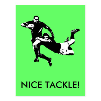 Nice tackle,Rugby Post Card