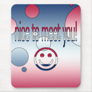 Nice to Meet You! America Flag Colors Pop Art Mouse Pad