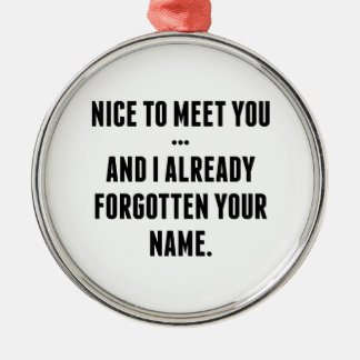 Nice To Meet You… And I Already Forgotten Your Nam Metal Ornament