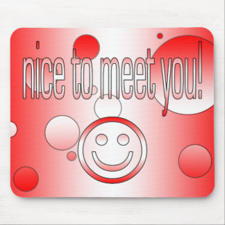 Nice to Meet You! Canada Flag Colors Pop Art Mouse Pad