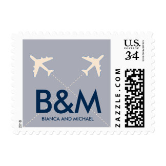 nice travel airplanes with initials, bluish postage