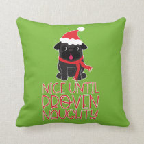 Nice Until Proven Naughty Black Santa Christmas Pu Throw Pillow
