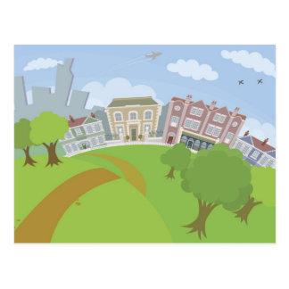 Nice urban scene with park and houses postcard