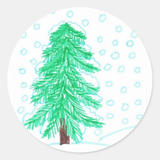 nice winter day classic round sticker