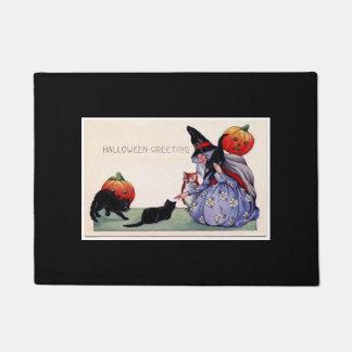 Nice Witch Cats Owl Halloween Doormat