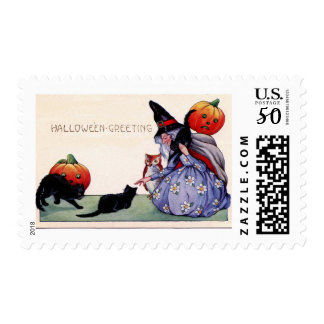 Nice Witch Cats Owl Halloween Postage Stamp