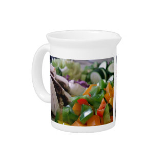Nicely chopped mixed vegetables drink pitchers