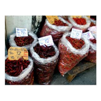Nicey picante, chiles tailandeses tarjeta postal
