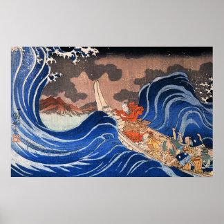 Nichiren calms a storm in Kakuda, Kuniyoshi Posters