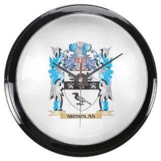 Nicholas Coat of Arms - Family Crest Fish Tank Clock