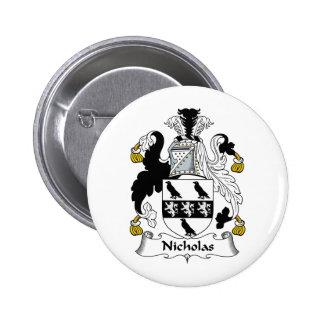 Nicholas Family Crest Pinback Button