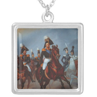 Nicholas I with his officers, 1835 Silver Plated Necklace