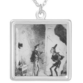Nicholas instructs Smike in the art of acting Square Pendant Necklace