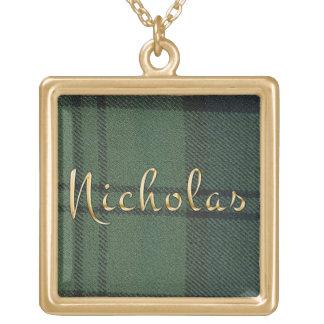 Nicholas Name-branded Pendant on Dunbar Tartan