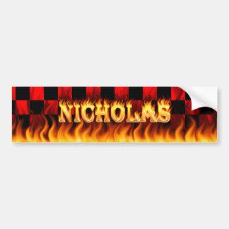 Nicholas real fire and flames bumper sticker desig