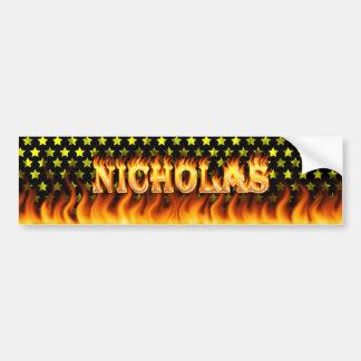 Nicholas real fire and flames bumper sticker desig car bumper sticker