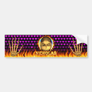 Nicholas skull real fire and flames bumper sticker