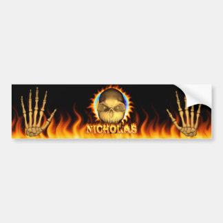 Nicholas skull real fire and flames bumper sticker car bumper sticker