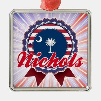 Nichols, SC Square Metal Christmas Ornament